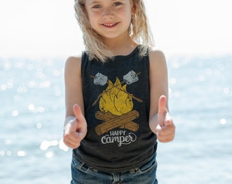 Happy Camper Vintage Kids Tank Top. Unisex Grey Black Toddler Triblend Tank with campfire and marshmallows. Celebrates Wilderness.