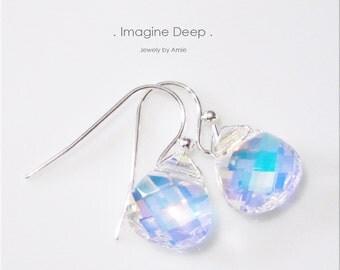 Crystal Earrings Aurora Borealis Rainbow Swarvoski Crystals Briolette Teardrop Pear Dangle Sterling Silver or Silver Plated 50 % SPECIAL