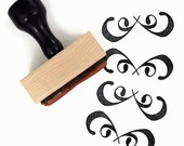 SALE Rubber Stamp Flourish Border - Hand Drawn Design DIY Packaging Stamp