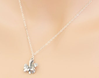 Orchid Flower Necklace Sterling Silver Gift Birthday Friends