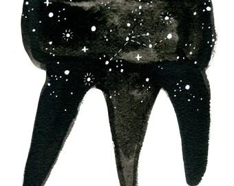 Cosmic Tooth. An original dental watercolor painting.