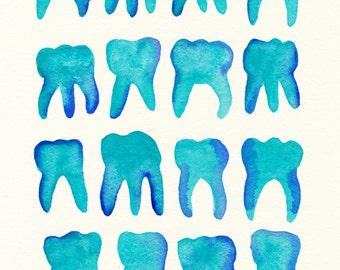 Turquoise Molars. An original dental watercolor painting.