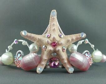 Mermaid Crown - Ivory Rose Starfish Tiara Mermaid Tiara Little Mermaid Ocean Tiara Beach Wedding Crown Beach Tiara - Ready to Ship