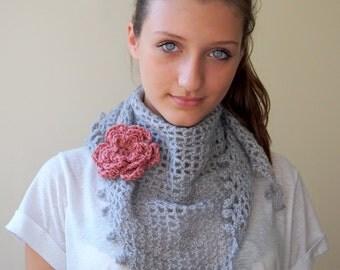 Crochet PATTERN women shawl with flower, woman triangle shawl lace wrap, wedding shawl DIY photo tutorialInstant download