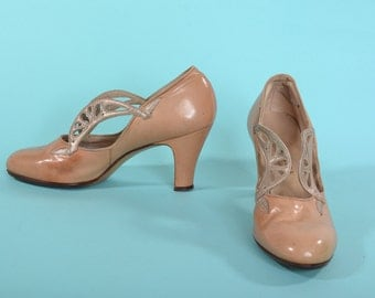 Vintage 1930s Neutral Wedding Shoes - 1920s Art Deco Leather High Heels - Bridal Fashions Size 4