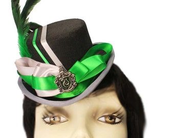 Mini Top Hat Slytherin Harry Potter Inspired Victorian Steampunk Fascinator Cocktail Green