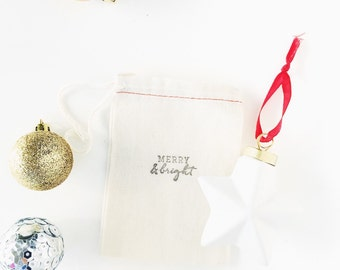 "Hand Stamped Exclusive Inspire Lovely Design Bags  -  ""Merry and Bright"" bags perfect for gifting"