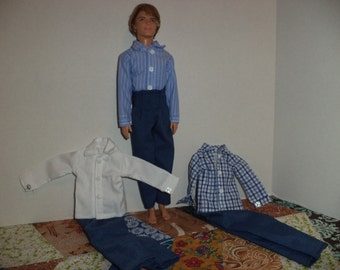 Doll Clothes, Dress Shirt with Blue Pants, 12 inch boy fashion doll, Ready to Ship