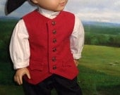 RESERVED Colonial Boy's Red Vest Outfit for 18 inch Dolls