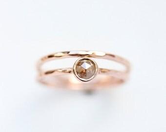 Rose cut diamond ring, engagement ring, coloured diamond, rustic, alternative, modern, organic, red, rust, peach, april birthstone