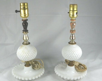 VINTAGE 1950s Two Working Milk Glass Lamps White Hobnail Pattern Bedroom Coffee Table Vanity Bedside Pair Set Fun Mid Century Mothers Day