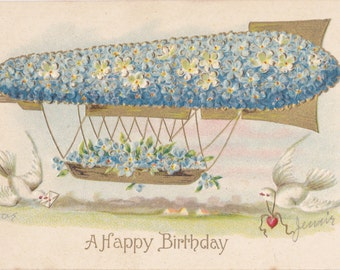 Airship Forget-Me-Not- 1900s Antique Postcard- Dirigible Made of Flowers- Happy Birthday- Edwardian Fantasy- White Doves- Paper Ephemera