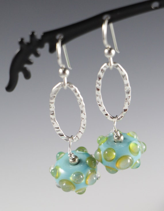 Turquoise with Pale Yellow/Green Dots Lampworking Sterling Silver Earrings