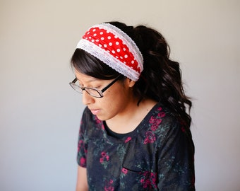 SALE - Red Dots - Wide Headband/Headcovering for Women | 2 in 1 Headcovering
