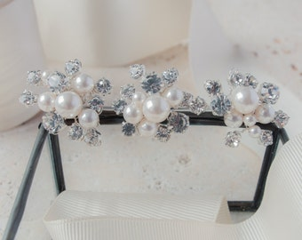 Pearl and Diamante Cluster Pins