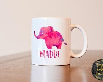 Elephant mug, elephant monogram, name mug, elephant gift, gift for elephant lover, elephant decor, elephant coffee mug, watercolor elephant