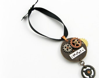 Steampunk Ornament with Gears and Cogs (Reversible) for Geeky Christmas Gift