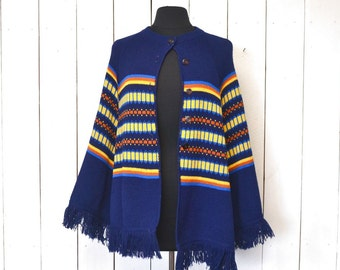 Knit Poncho Cape 1960s Hippie Boho Fair Isle Navy Blue Button Up Fringe Poncho
