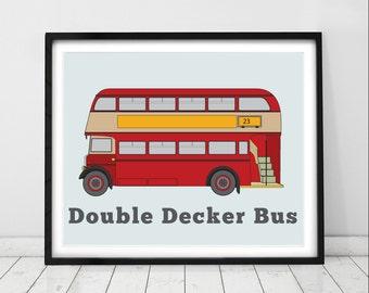 London Bus, London Nursery Art, Children's Print, Double Decker Bus, Transport Themed Art, Red Bus Picture