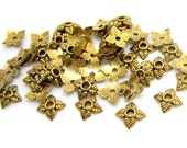 Bead Caps : 100 Antique Golden Leaf Bead End Caps | Gold Flower Bead Caps ... 6mm -- Lead & Cadmium Free Jewelry Findings 551.Q