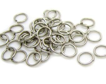 5mm Jump Rings: 100 Antique Silver Open Jump Rings 5mm x .7mm (21 Gauge) -- Lead, Nickel, & Cadmium free Jewelry Finding 5/.70