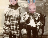 Weird Easter Art, Mixed Media Collage, 8x10 Inch Print, Victorian Children, Plastic Rabbits, Anthropomorphic Art, Brother and Sister