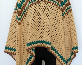 Extra Large Beige tan Indian Granny  Poncho Crocheted Poncho, Women's Pullover Sweater Shoulder Knitted Poncho Cape