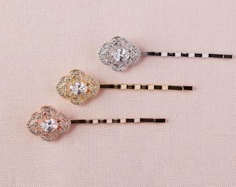 Wedding Hair pins, Bridal Bobby pins, Bridal hair comb, Vintage style hair pins, Swarovski, Lola Hair pins