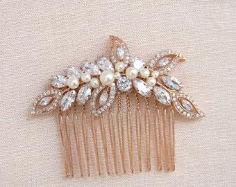 Rose gold hair comb, Bridal Hair comb, Swarovski Pearl and crystal, Wedding Tiara, Rose Gold Linneah Crystal Hair comb