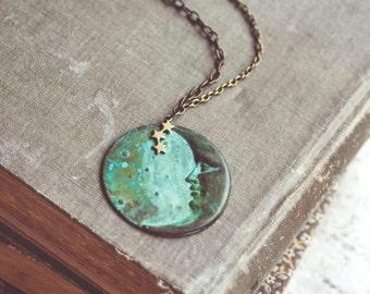 la luna necklace in green patina