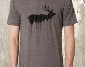 Men's TriBlend Shirt - Elk Above Tree Line - American Apparel Tri-Blend Track Tee - Men's Small Through 2XL Available