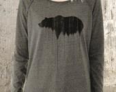 Grizzly Bear Above Treeline - Women's Pullover Sweater - Alternative Apparel Locker Room Sweater-  Women's Small - XL Available