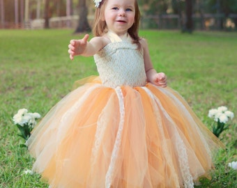 Wedding Flower Girl Tutu Vintage Peach Ivory Linen, Lace, Tulle Flower Girl Ensemble for Weddings, Pageants, Special Occasions