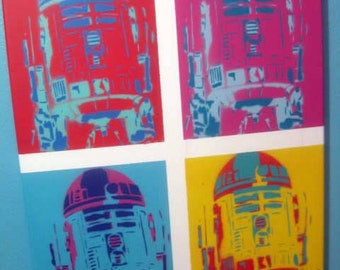 R2D2 Andy Warhol Style Stencil Collage Painting on Canvas by Beau Pope