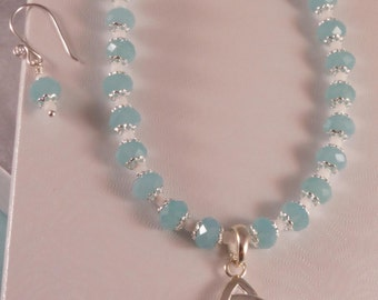 Aqua Silver & White Necklace Earring Set - 15 Inch Necklace - Seed Bead and Crystal - Beaded Choker - Celtic Trinity Knot - Triquetra