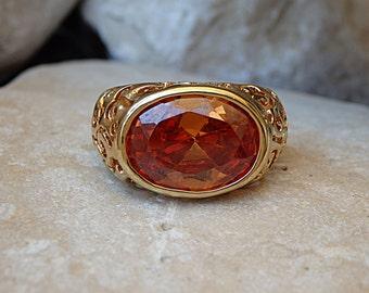 Gold filled Swarovski Ring, Tangerine Gemstone Ring, Orange Stone Ring, Gold Filigree Ring, Oval Gemstone Ring, Women Big Stone Ring for Her
