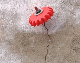 Red Junk Flower, Metal Plastic Flower, Whimsical Flower, Flower Art, Home Decor, Childrens Decor, Playful, Gardener Gift, love gift