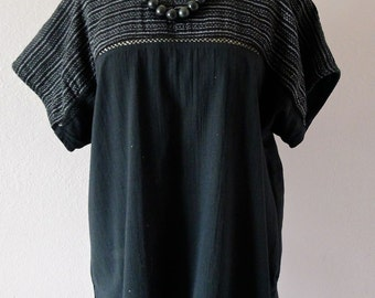 Mexican Rebozo custom blouse Black Ikat black cotton manta elegant simplicity boho loose size med/large