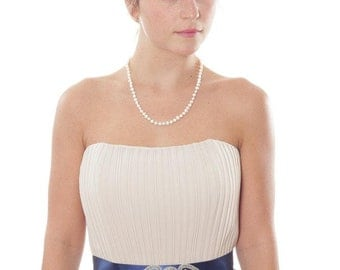 Blue Satin Navy Belt w/ Beaded Heart Embellishment Navy Blue Something Blue Made in Ohio Vintage Style Wedding 1000241