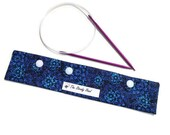 """Large Dark Blue Flowers Knitting Needles DPN Circular Project Holder for needles up to 9-1/2"""" long S184"""