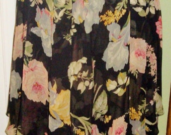 RALPH LAUREN Pink ROSES Black Silk Chiffon 2-tiered Gypsy Boho Skirt Size 8 Romantic Floral Print