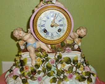 Sale Antique DRESDEN Meissen Porcelain CLOCK Pink Yellow Roses Cherubs Ornate Collectible Working Lenzkirch A.U.G.