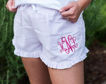 Ruffle Bitty Boxers Bride and Bridemaid Gift Monogrammed Ruffled Boxers Personalized Boxer Shorts Boxer Short Boxer Short Personalized Short