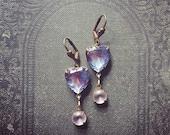 Romantic Twilight Rhinestone Earrings / Vintage Assemblage Jewelry / Unique Valentines Gift