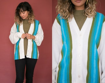 Vintage 60s Striped Cardigan / Wool Cardigan / Retro Mod Green and Blue Sweater / White Button Down Knit Oversized Womens Hipster Unisex