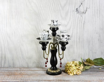 Candelabra with espresso cups, unique table centerpiece, crystal candelabra, candle holder
