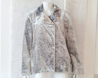 Silver Faux Fur Coat 90s Vintage Fake Fur Jacket Large Curly Persian Lamb Club Kid Boho Glam Rock Gray Vegan Burningman Metallic Playa Coat