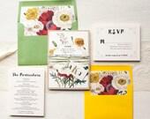"Boho Wedding Invitations, Garden Inspired, Green, Yellow, Lace, Raffia Tie, Bohemian Bride, Floral Envelope Liners - ""Garden Mix"" Sample"