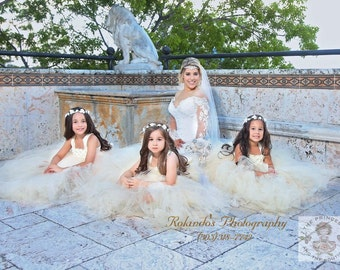 ivory and champagne flower girl dress, champagne flower girl dress, champagne tutu dress, tutu dress, flower girl dress, girls dresses,