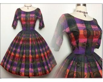 Vintage 1950s Dress//50s Dress//Designer//Jonathan Logan//New Look//Full Skirt Dress//Rockabilly//Mod